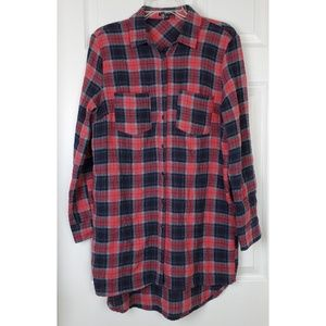 Very j Plaid high low tunic top or dress size S